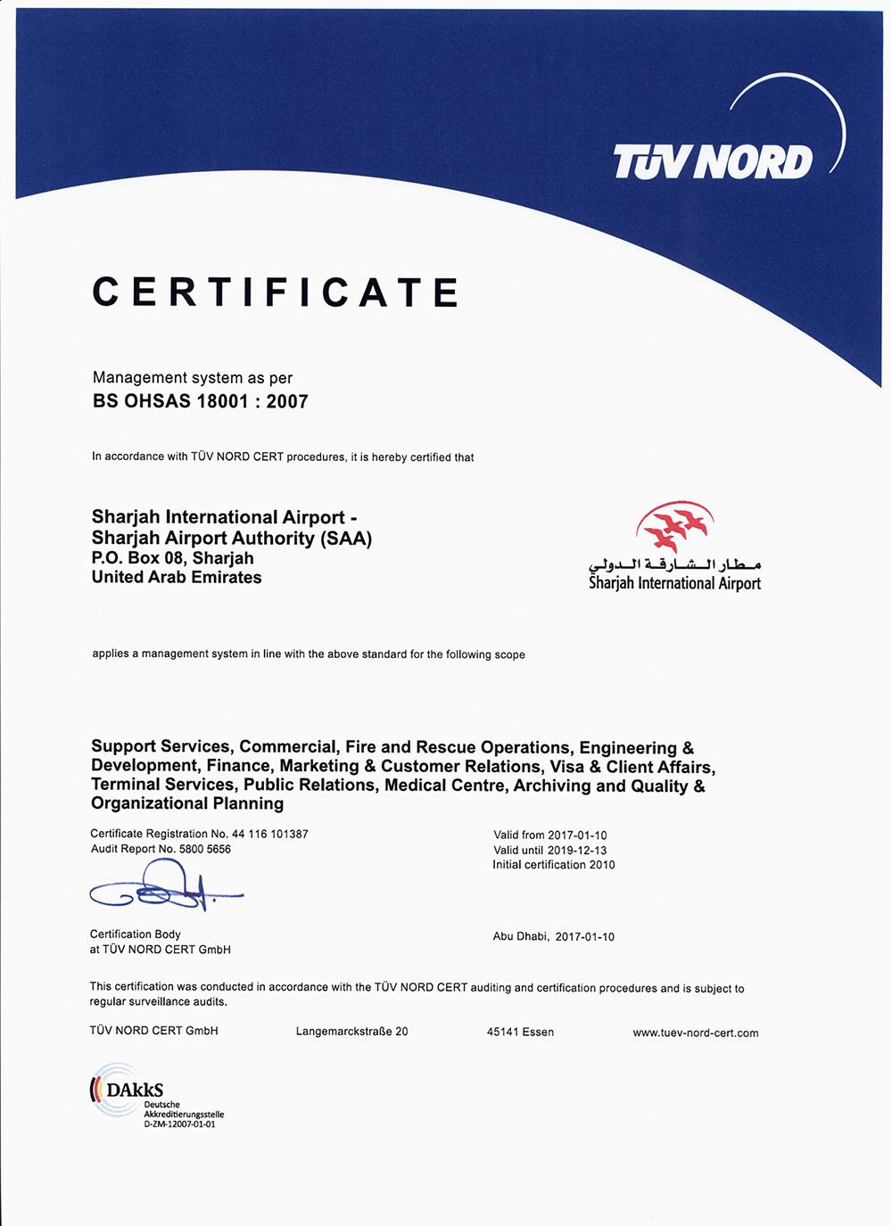 certificate-SAA-OHSAS