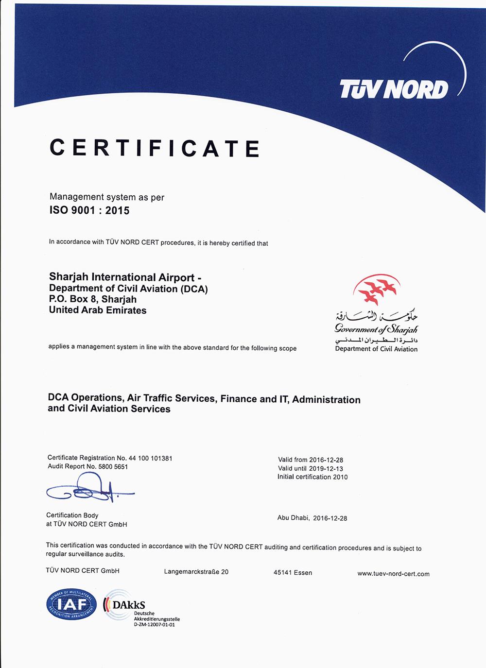 certification iso dca certificate international airport